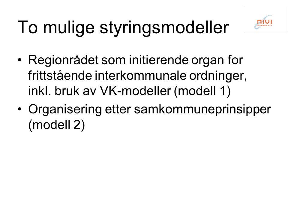 To mulige styringsmodeller Regionrådet som initierende organ for frittstående interkommunale ordninger, inkl. bruk av VK-modeller (modell 1) Organiser