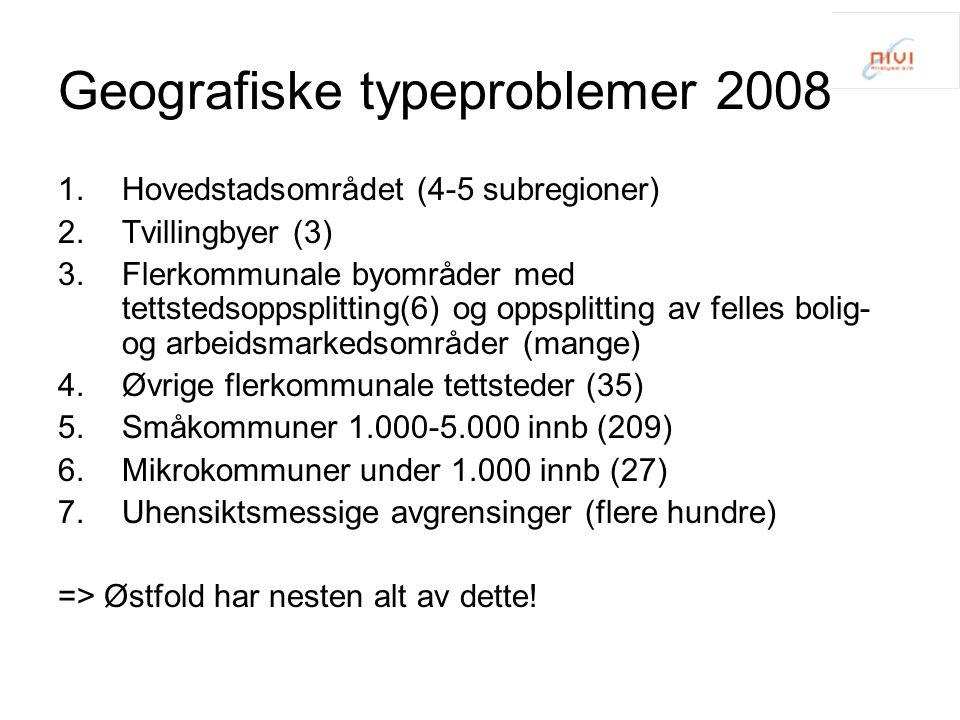 Geografiske typeproblemer 2008 1.Hovedstadsområdet (4-5 subregioner) 2.Tvillingbyer (3) 3.Flerkommunale byområder med tettstedsoppsplitting(6) og opps
