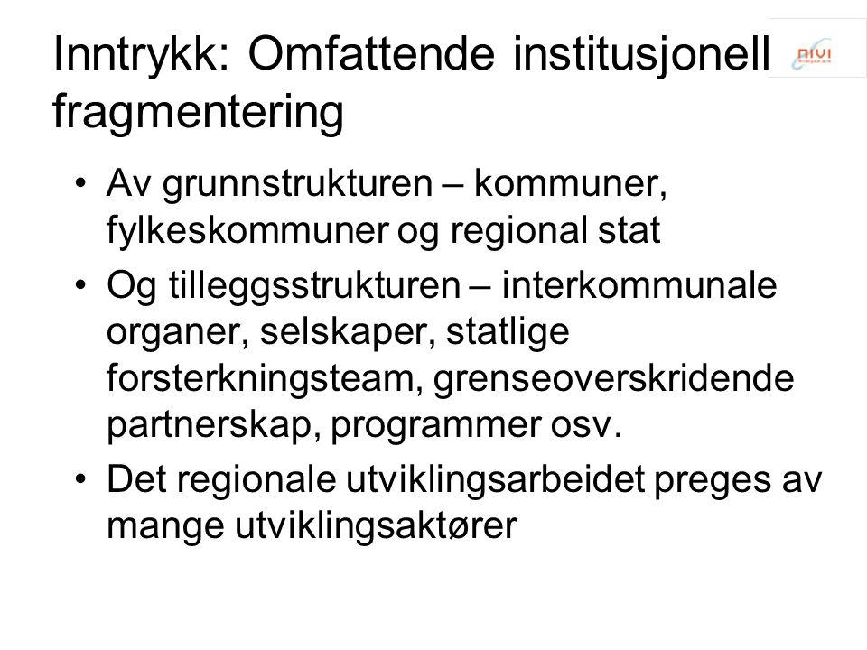 Inntrykk: Omfattende institusjonell fragmentering Av grunnstrukturen – kommuner, fylkeskommuner og regional stat Og tilleggsstrukturen – interkommunal