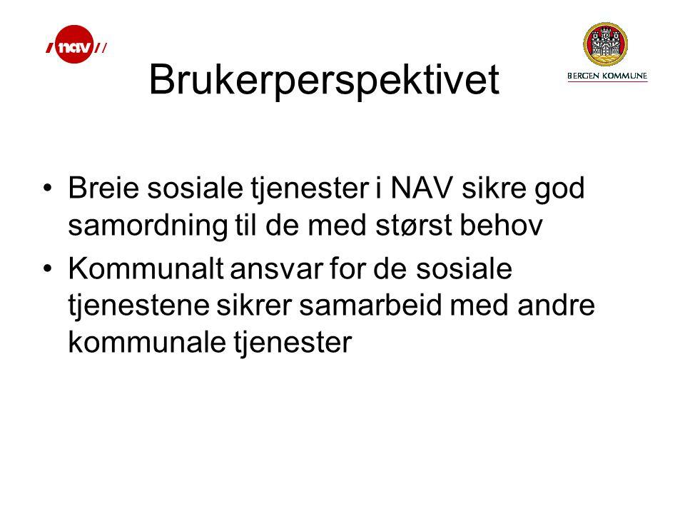 Breie sosiale tjenester i NAV sikre god samordning til de med størst behov Kommunalt ansvar for de sosiale tjenestene sikrer samarbeid med andre kommunale tjenester Brukerperspektivet