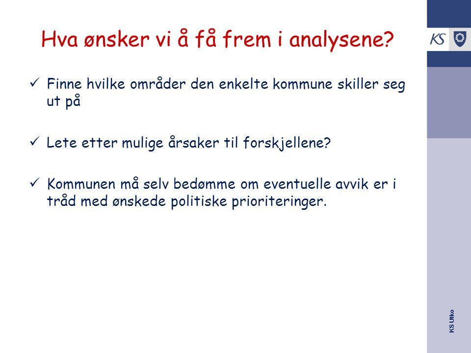 KS Utko Hva ønsker vi å få frem i analysene? Finne hvilke områder den enkelte kommune skiller seg ut på Lete etter mulige årsaker til forskjellene? Ko