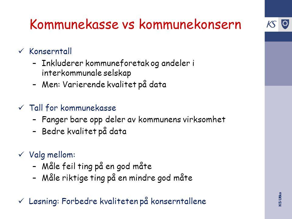 KS Utko Kommunekasse vs kommunekonsern Konserntall –Inkluderer kommuneforetak og andeler i interkommunale selskap –Men: Varierende kvalitet på data Ta