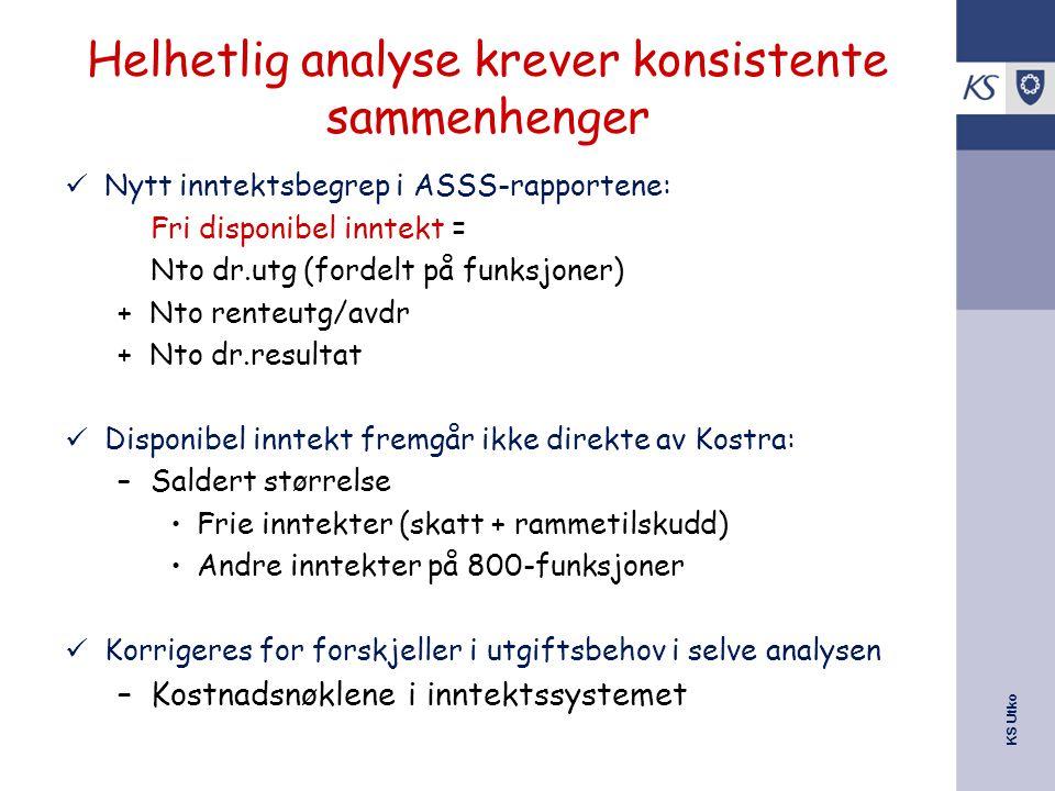 KS Utko Helhetlig analyse krever konsistente sammenhenger Nytt inntektsbegrep i ASSS-rapportene: Fri disponibel inntekt = Nto dr.utg (fordelt på funks