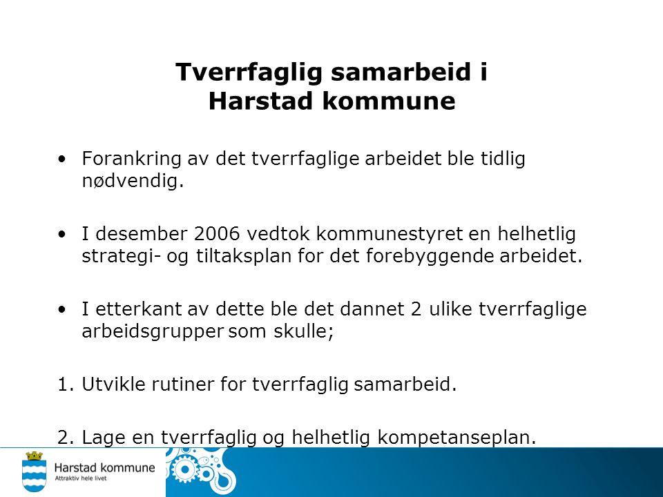 Tverrfaglig samarbeid i Harstad kommune Forankring av det tverrfaglige arbeidet ble tidlig nødvendig. I desember 2006 vedtok kommunestyret en helhetli