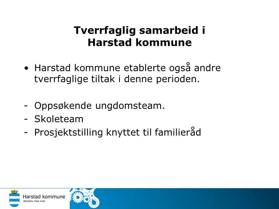 Tverrfaglig samarbeid i Harstad kommune Harstad kommune etablerte også andre tverrfaglige tiltak i denne perioden. -Oppsøkende ungdomsteam. -Skoleteam