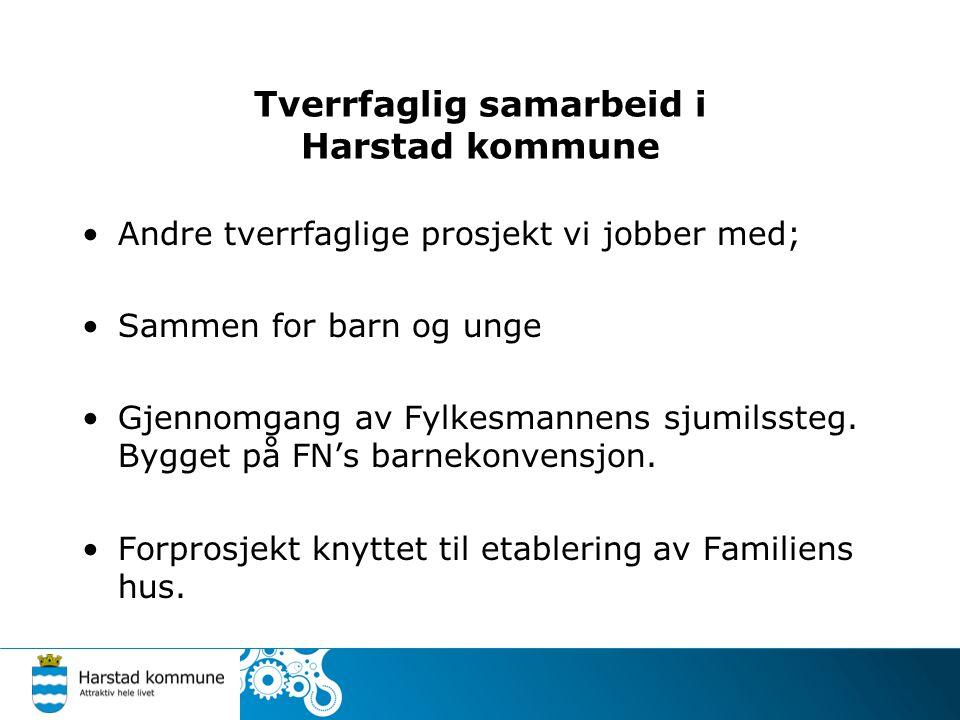 Tverrfaglig samarbeid i Harstad kommune Andre tverrfaglige prosjekt vi jobber med; Sammen for barn og unge Gjennomgang av Fylkesmannens sjumilssteg. B