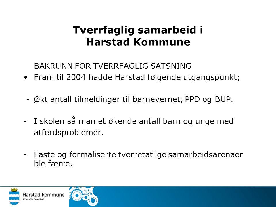 Tverrfaglig samarbeid i Harstad Kommune BAKRUNN FOR TVERRFAGLIG SATSNING Fram til 2004 hadde Harstad følgende utgangspunkt; - Økt antall tilmeldinger