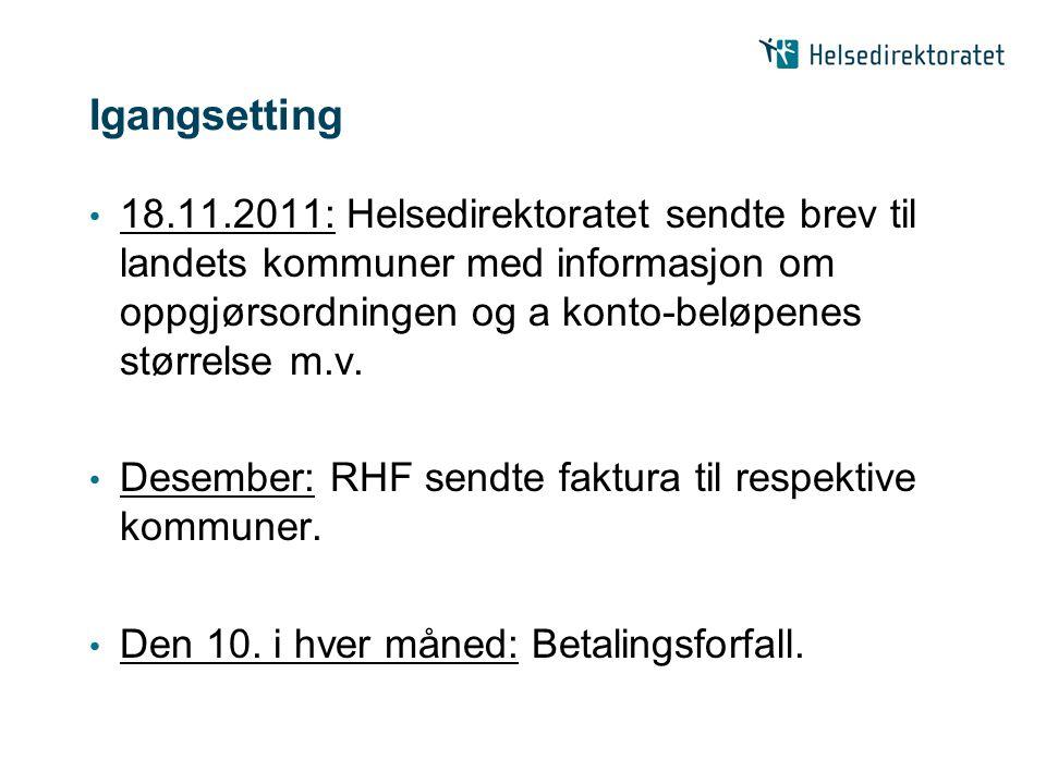 Igangsetting 18.11.2011: Helsedirektoratet sendte brev til landets kommuner med informasjon om oppgjørsordningen og a konto-beløpenes størrelse m.v. D