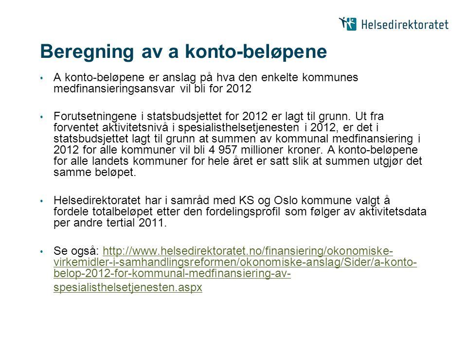 Beregning av a konto-beløpene A konto-beløpene er anslag på hva den enkelte kommunes medfinansieringsansvar vil bli for 2012 Forutsetningene i statsbu