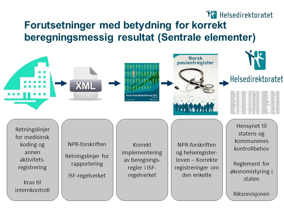 Forutsetninger med betydning for korrekt beregningsmessig resultat (Sentrale elementer) Retningslinjer for medisinsk koding og annen aktivitets- regis