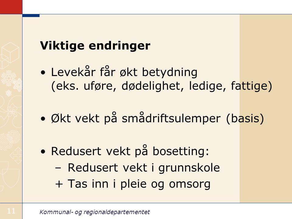 Kommunal- og regionaldepartementet 11 Viktige endringer Levekår får økt betydning (eks.