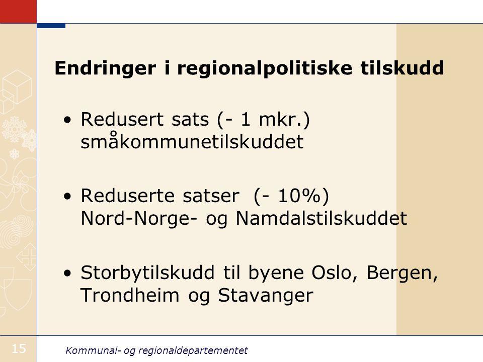 Kommunal- og regionaldepartementet 15 Endringer i regionalpolitiske tilskudd Redusert sats (- 1 mkr.) småkommunetilskuddet Reduserte satser (- 10%) Nord-Norge- og Namdalstilskuddet Storbytilskudd til byene Oslo, Bergen, Trondheim og Stavanger