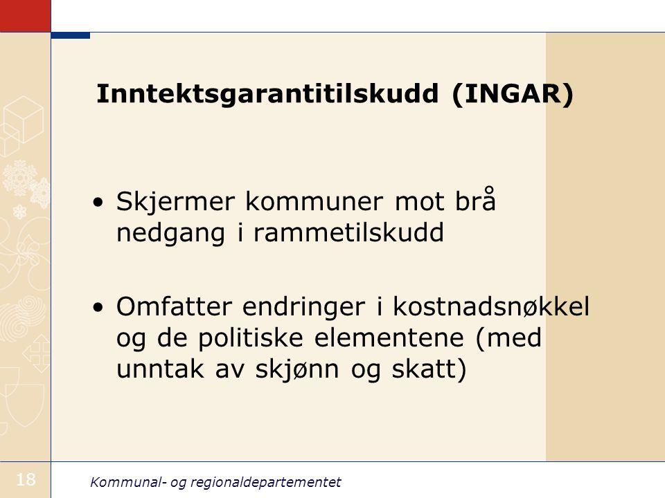 Kommunal- og regionaldepartementet 18 Inntektsgarantitilskudd (INGAR) Skjermer kommuner mot brå nedgang i rammetilskudd Omfatter endringer i kostnadsn