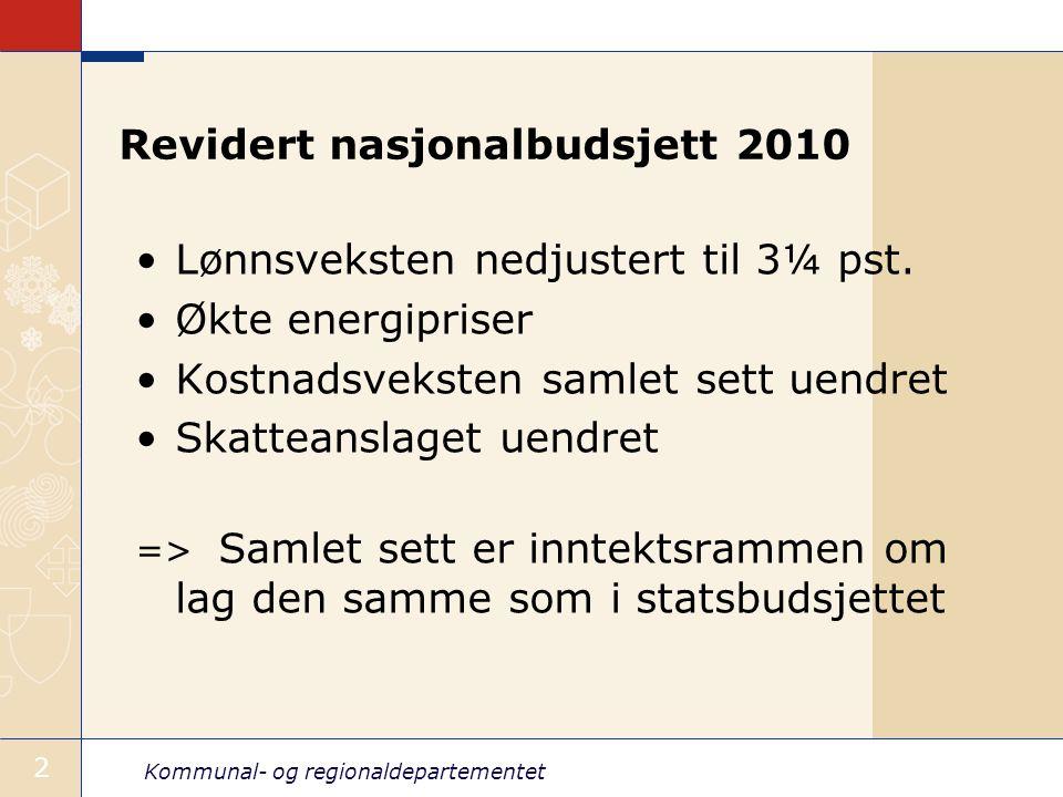 Kommunal- og regionaldepartementet 2 Revidert nasjonalbudsjett 2010 Lønnsveksten nedjustert til 3¼ pst. Økte energipriser Kostnadsveksten samlet sett