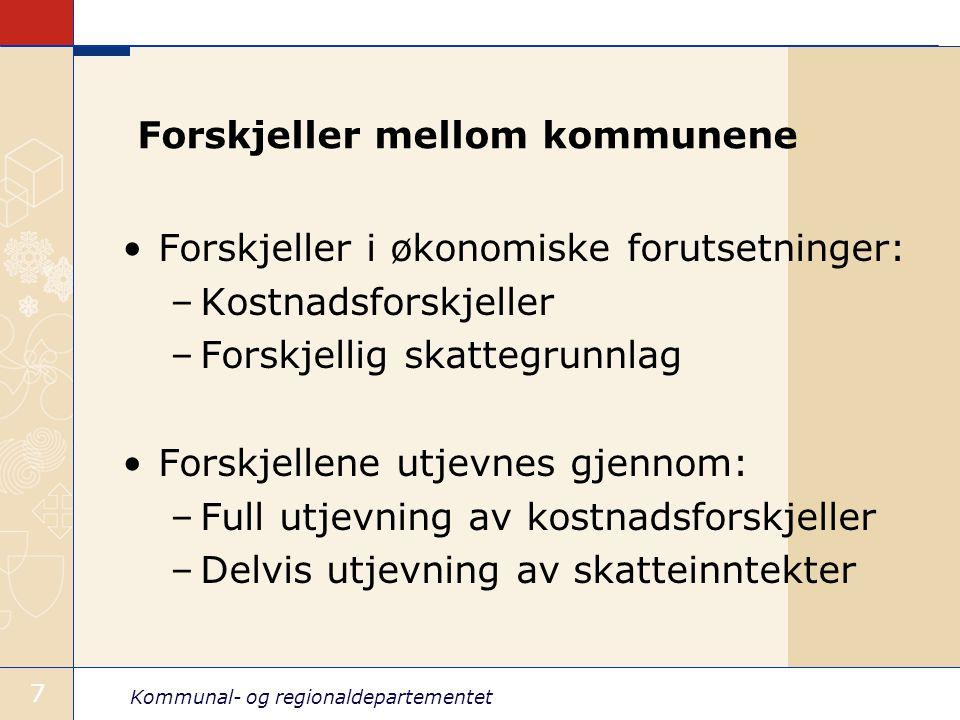Kommunal- og regionaldepartementet 7 Forskjeller mellom kommunene Forskjeller i økonomiske forutsetninger: –Kostnadsforskjeller –Forskjellig skattegru