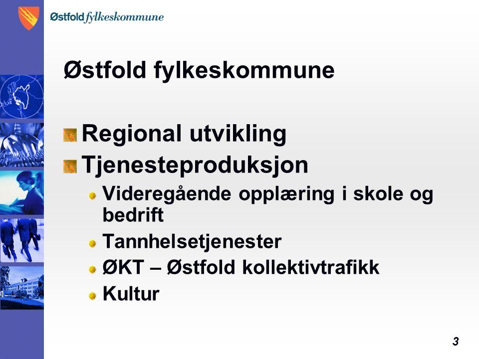3 Østfold fylkeskommune Regional utvikling Tjenesteproduksjon Videregående opplæring i skole og bedrift Tannhelsetjenester ØKT – Østfold kollektivtraf