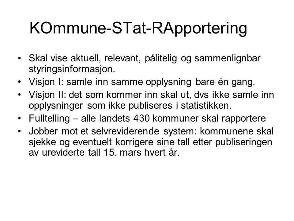 KOmmune-STat-RApportering Skal vise aktuell, relevant, pålitelig og sammenlignbar styringsinformasjon.