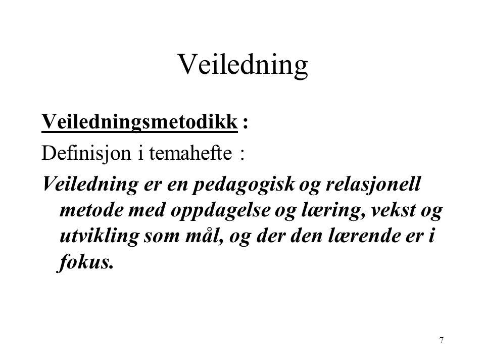 Veiledning Veiledningsmetodikk : Definisjon i temahefte : Veiledning er en pedagogisk og relasjonell metode med oppdagelse og læring, vekst og utvikli