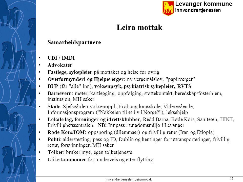 Levanger kommune Innvandrertjenesten Innvandrertjenesten, Leira mottak 11 Leira mottak Samarbeidspartnere UDI / IMDI Advokater Fastlege, sykepleier på