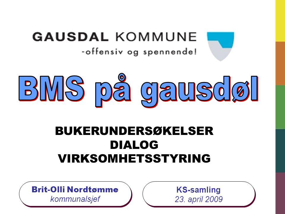 Brit-Olli Nordtømme kommunalsjef BUKERUNDERSØKELSER DIALOG VIRKSOMHETSSTYRING KS-samling 23. april 2009