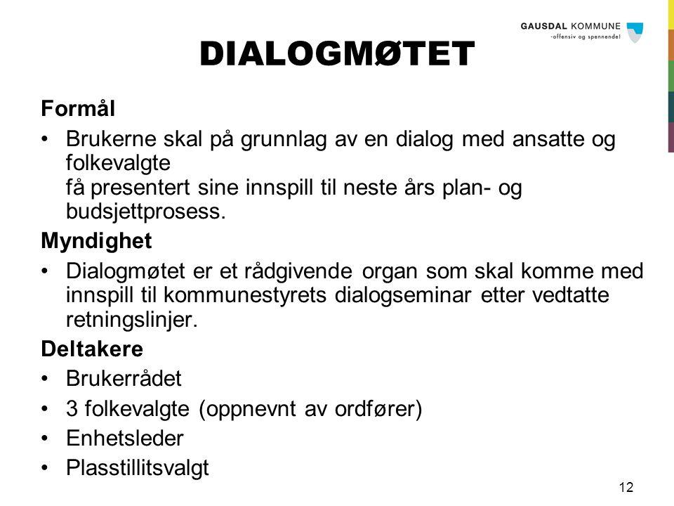 12 DIALOGMØTET Formål Brukerne skal på grunnlag av en dialog med ansatte og folkevalgte få presentert sine innspill til neste års plan- og budsjettprosess.