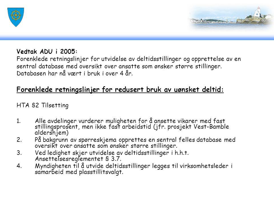 Vedtak ADU i 2005: Forenklede retningslinjer for utvidelse av deltidsstillinger og opprettelse av en sentral database med oversikt over ansatte som øn