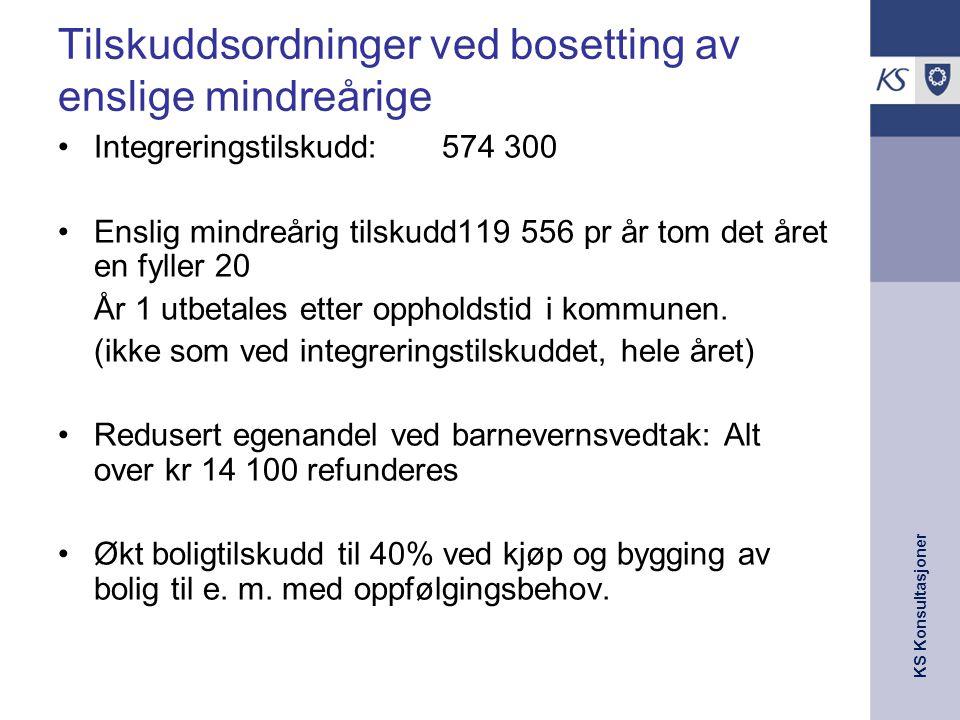 KS Konsultasjoner Tilskuddsordninger ved bosetting av enslige mindreårige Integreringstilskudd: 574 300 Enslig mindreårig tilskudd119 556 pr år tom det året en fyller 20 År 1 utbetales etter oppholdstid i kommunen.