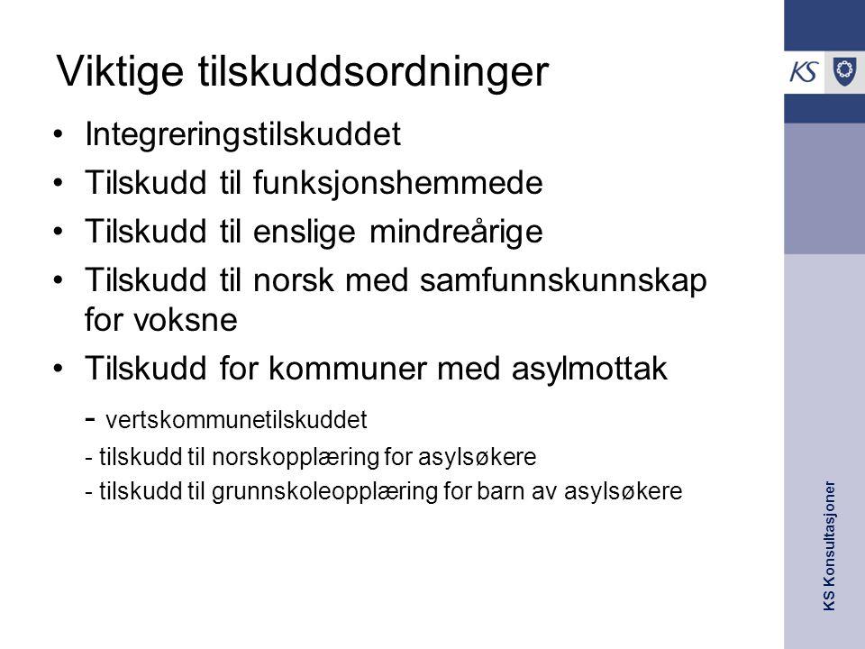 KS Konsultasjoner Viktige tilskuddsordninger Integreringstilskuddet Tilskudd til funksjonshemmede Tilskudd til enslige mindreårige Tilskudd til norsk