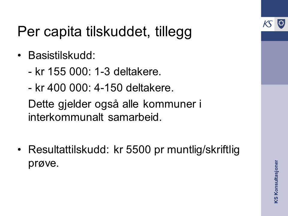 KS Konsultasjoner Per capita tilskuddet, tillegg Basistilskudd: - kr 155 000: 1-3 deltakere. - kr 400 000: 4-150 deltakere. Dette gjelder også alle ko