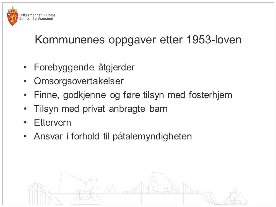 Kommunenes oppgaver etter 1953-loven Forebyggende åtgjerder Omsorgsovertakelser Finne, godkjenne og føre tilsyn med fosterhjem Tilsyn med privat anbragte barn Ettervern Ansvar i forhold til påtalemyndigheten