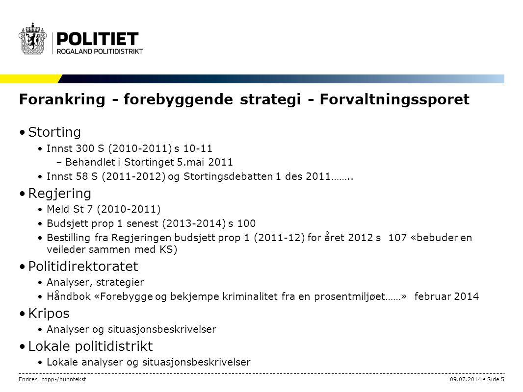 Forankring - forebyggende strategi - Forvaltningssporet Storting Innst 300 S (2010-2011) s 10-11 –Behandlet i Stortinget 5.mai 2011 Innst 58 S (2011-2