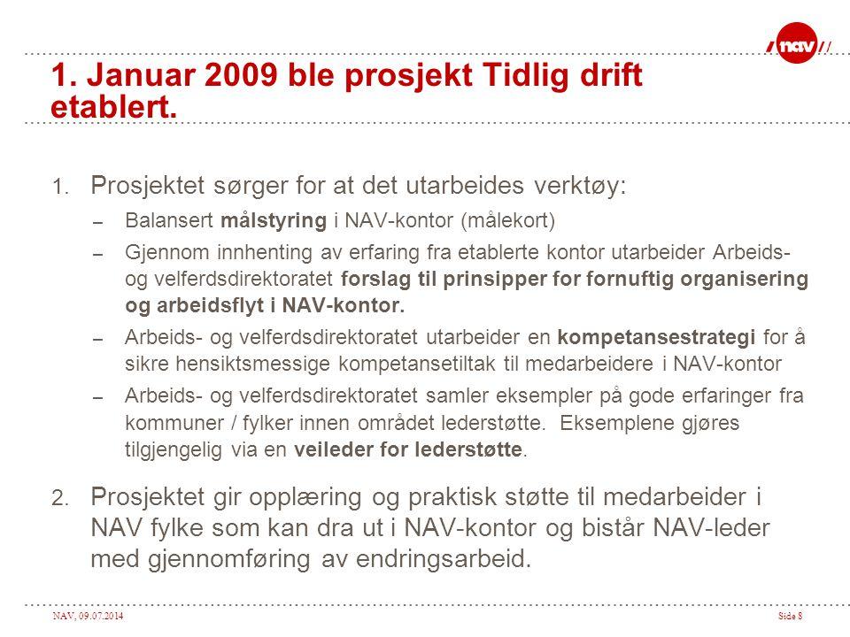 NAV, 09.07.2014Side 8 1.Januar 2009 ble prosjekt Tidlig drift etablert.