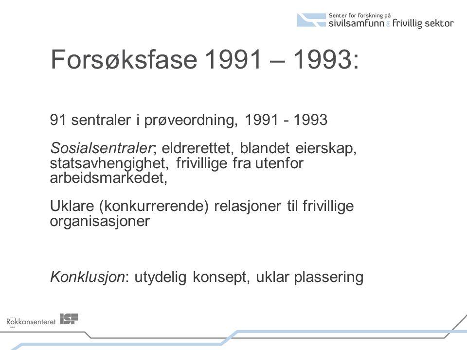 Forsøksfase 1991 – 1993: 91 sentraler i prøveordning, 1991 - 1993 Sosialsentraler; eldrerettet, blandet eierskap, statsavhengighet, frivillige fra utenfor arbeidsmarkedet, Uklare (konkurrerende) relasjoner til frivillige organisasjoner Konklusjon: utydelig konsept, uklar plassering