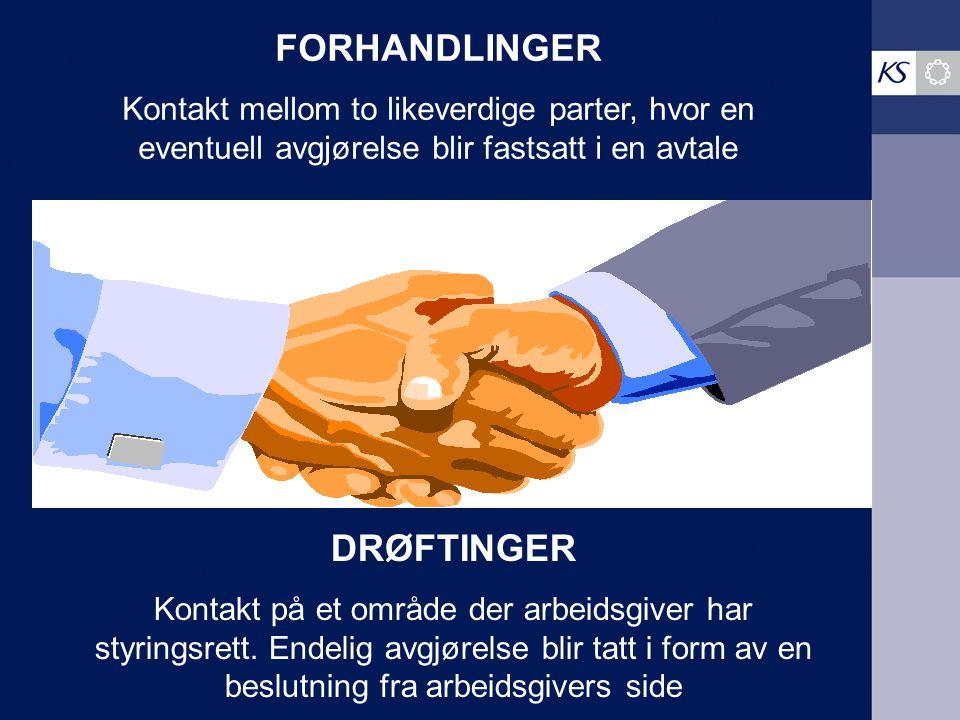 FORHANDLINGER Kontakt mellom to likeverdige parter, hvor en eventuell avgjørelse blir fastsatt i en avtale DRØFTINGER Kontakt på et område der arbeids