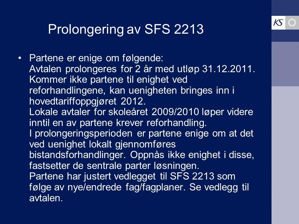 Prolongering av SFS 2213 Partene er enige om følgende: Avtalen prolongeres for 2 år med utløp 31.12.2011. Kommer ikke partene til enighet ved reforhan
