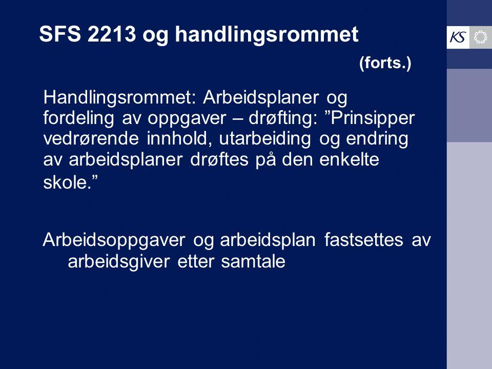 """SFS 2213 og handlingsrommet (forts.) Handlingsrommet: Arbeidsplaner og fordeling av oppgaver – drøfting: """"Prinsipper vedrørende innhold, utarbeiding o"""