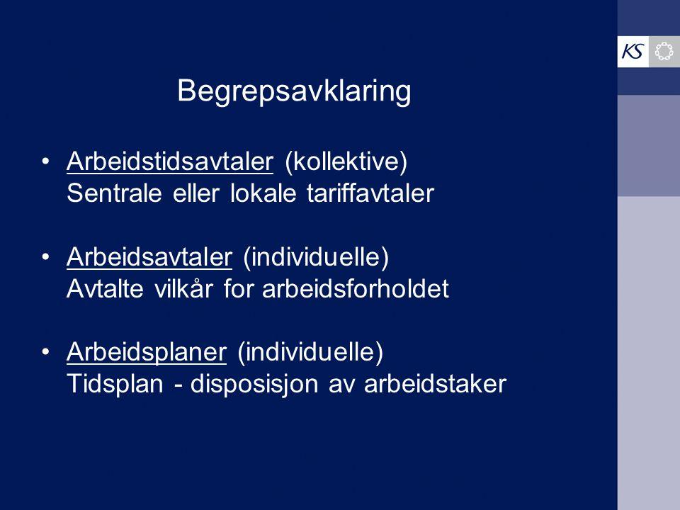 Begrepsavklaring Arbeidstidsavtaler (kollektive) Sentrale eller lokale tariffavtaler Arbeidsavtaler (individuelle) Avtalte vilkår for arbeidsforholdet