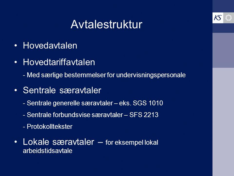 Avtalestruktur Hovedavtalen Hovedtariffavtalen - Med særlige bestemmelser for undervisningspersonale Sentrale særavtaler - Sentrale generelle særavtal
