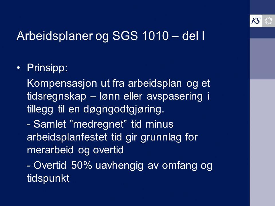 Arbeidsplaner og SGS 1010 – del I Prinsipp: Kompensasjon ut fra arbeidsplan og et tidsregnskap – lønn eller avspasering i tillegg til en døgngodtgjøri