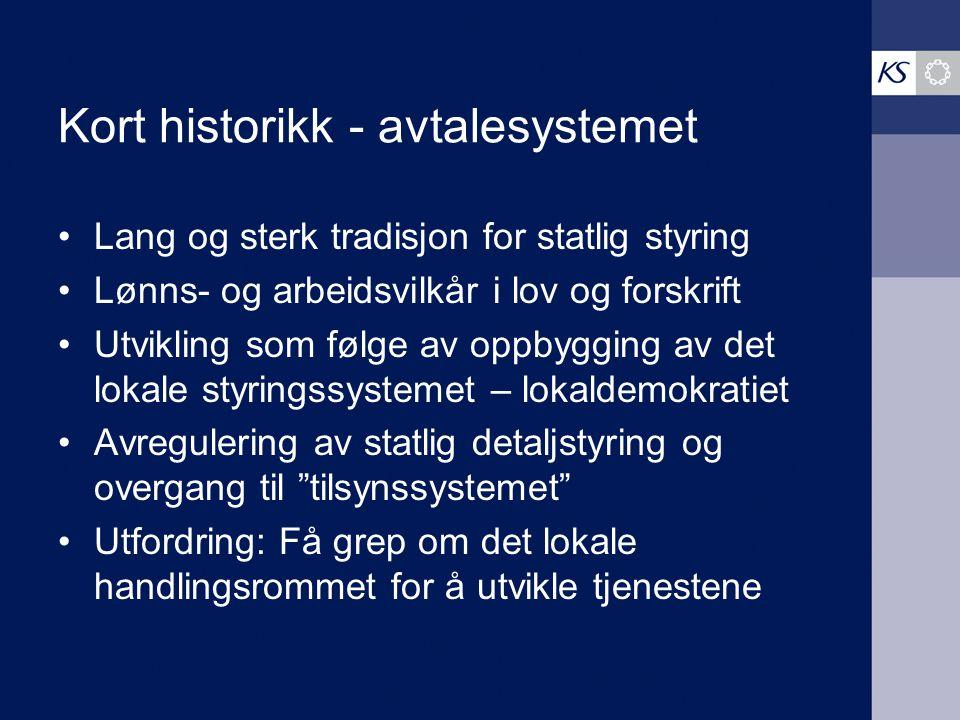 Kort historikk - avtalesystemet Lang og sterk tradisjon for statlig styring Lønns- og arbeidsvilkår i lov og forskrift Utvikling som følge av oppbyggi
