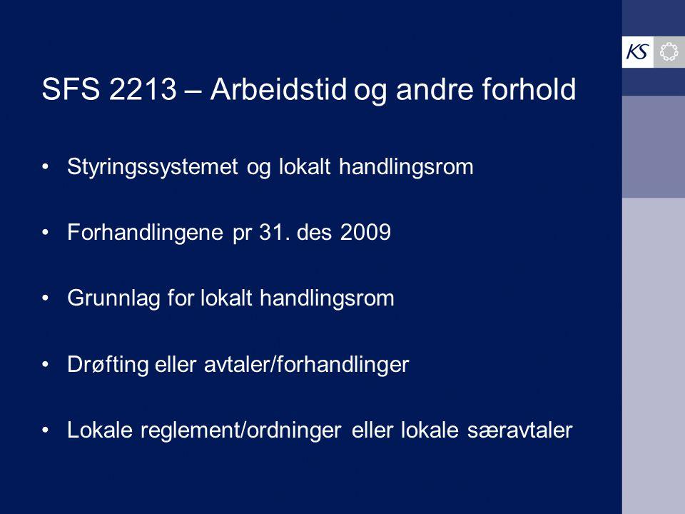SFS 2213 – Arbeidstid og andre forhold Styringssystemet og lokalt handlingsrom Forhandlingene pr 31. des 2009 Grunnlag for lokalt handlingsrom Drøftin
