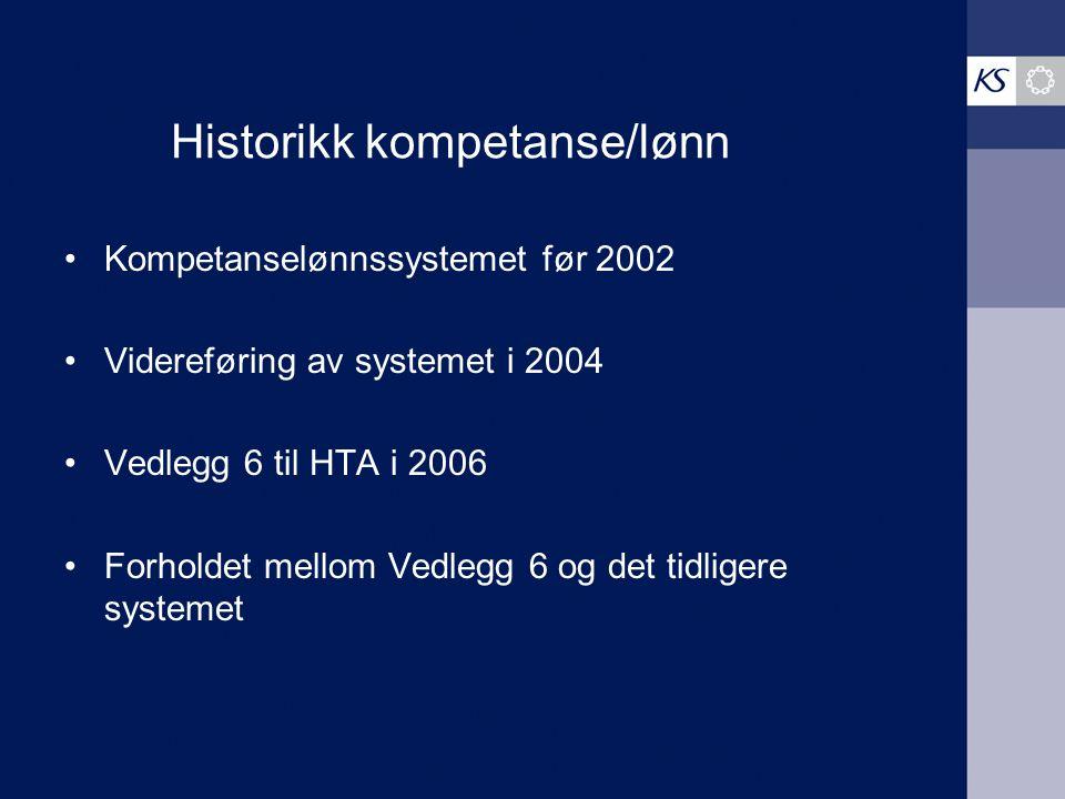 Historikk kompetanse/lønn Kompetanselønnssystemet før 2002 Videreføring av systemet i 2004 Vedlegg 6 til HTA i 2006 Forholdet mellom Vedlegg 6 og det