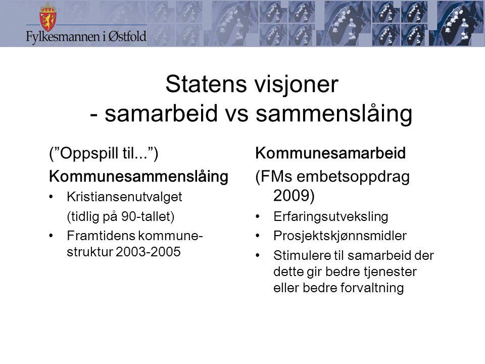Statens visjoner - samarbeid vs sammenslåing Kommunesamarbeid (FMs embetsoppdrag 2009) Erfaringsutveksling Prosjektskjønnsmidler Stimulere til samarbe