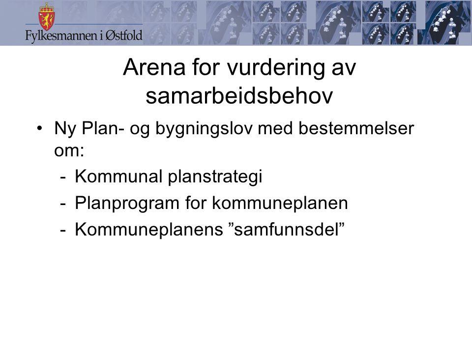 Arena for vurdering av samarbeidsbehov Ny Plan- og bygningslov med bestemmelser om: -Kommunal planstrategi -Planprogram for kommuneplanen -Kommuneplanens samfunnsdel
