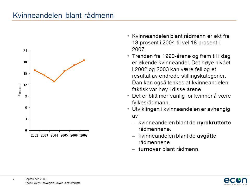 September, 2008 Econ Pöyry Norwegian PowerPoint template 3 Kvinneandelen av nyrekrutterte og avgåtte Kvinneandelen blant de nyrekrutterte rådmennene er etter perioden 2003-2004 vesentlig høyere enn kvinneandelen blant de som forlater rådmannsstillingene.