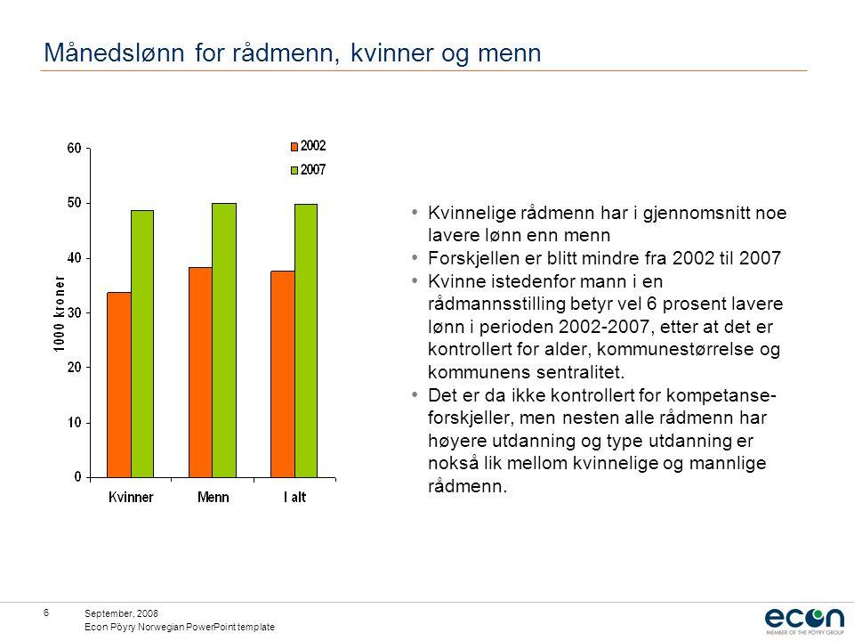 September, 2008 Econ Pöyry Norwegian PowerPoint template 6 Månedslønn for rådmenn, kvinner og menn Kvinnelige rådmenn har i gjennomsnitt noe lavere lønn enn menn Forskjellen er blitt mindre fra 2002 til 2007 Kvinne istedenfor mann i en rådmannsstilling betyr vel 6 prosent lavere lønn i perioden 2002-2007, etter at det er kontrollert for alder, kommunestørrelse og kommunens sentralitet.