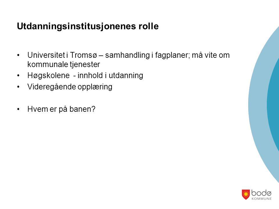 Utdanningsinstitusjonenes rolle Universitet i Tromsø – samhandling i fagplaner; må vite om kommunale tjenester Høgskolene - innhold i utdanning Videregående opplæring Hvem er på banen?
