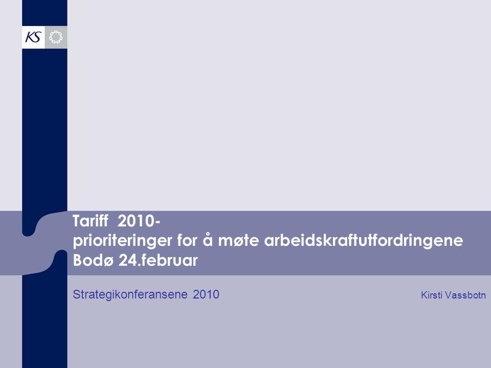 Tariff 2010- prioriteringer for å møte arbeidskraftutfordringene Bodø 24.februar Strategikonferansene 2010 Kirsti Vassbotn