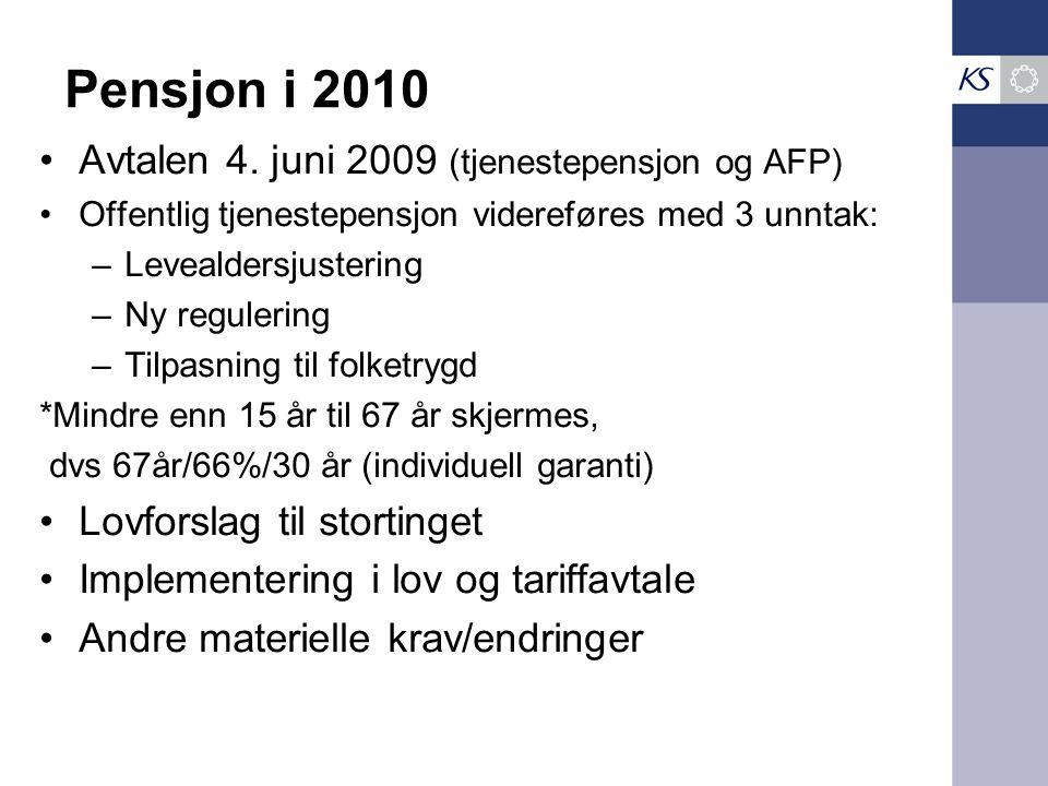 Pensjon i 2010 Avtalen 4. juni 2009 (tjenestepensjon og AFP) Offentlig tjenestepensjon videreføres med 3 unntak: –Levealdersjustering –Ny regulering –