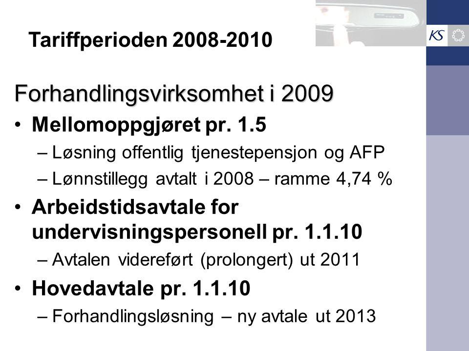 Forhandlingsvirksomhet i 2009 Mellomoppgjøret pr. 1.5 –Løsning offentlig tjenestepensjon og AFP –Lønnstillegg avtalt i 2008 – ramme 4,74 % Arbeidstids
